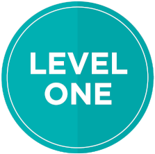 Fiverr level one badge.